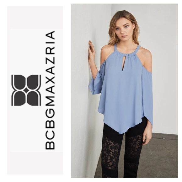 """2a9d63916333ad BCBG """"Jax"""" cold shoulder top in chambray blue!"""